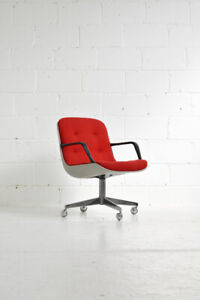 #0225 - Vintage Steelcase Desk Chair - Red (Pollock / Knoll rep)