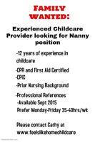 Looking for a Nanny Position for Sept 2015