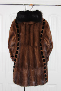 Wild Mink Fur Coat Trimmed in Sheared Beaver with Raccoon Collar