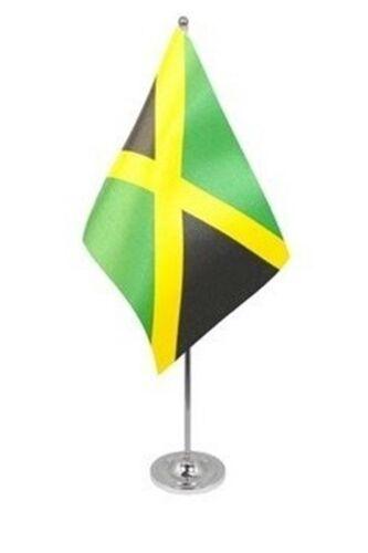 """JAMAICA DELUXE SATIN TABLE FLAG 9""""X6"""" CHROME Stands 15"""" JAMAICAN CARIBBEAN"""