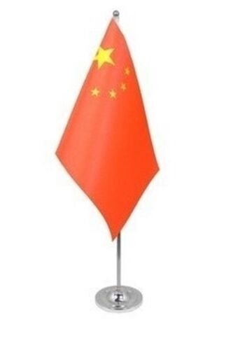 """CHINA DELUXE SATIN TABLE FLAG 9""""X6"""" CHROME POLE & BASE Stands 15"""" CHINESE"""