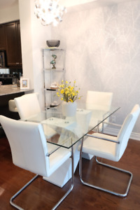 Modern White Laquer Glass Dining Table + Faux Leather Chairs