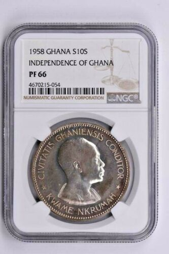 1958 Ghana Silver 10 Shillings NGC PF 66, Independence of Ghana Witter Coin