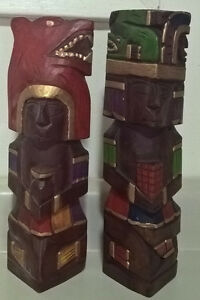 Vintage Wood Totem Poles Hand Carved & Painted
