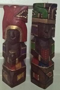 Vintage Wood Totem Poles Hand Carved & Painted