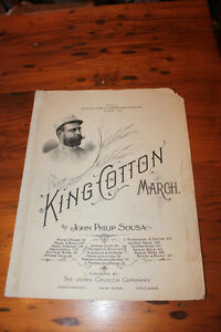 Old Sheet Music - King Cotton March - 1895 - Look Good Framed