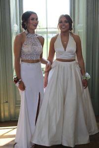 Ivory two piece prom dress