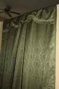 TWO PAIRSOF NEW LINED GREEN DRAPES WITH ATTACHED VALENCE
