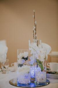 Centres de tables pour mariage ou autres occasions.