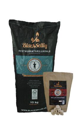 10 Kg BlackSellig Restaurant Grillkohle Nachhaltige Forstwirtschaft +50 Anzünder