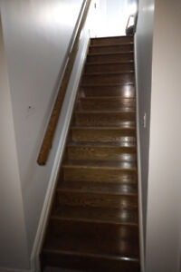 Stair Case - Strait Enclosed Oak Staircase With Oak Railing