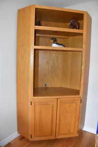 corner solid oak shelf / tv stand/ corner unit