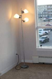 Stainless Steel And White Floor Lamps
