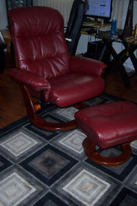 Burgundy Leather Recliner with Ottoman