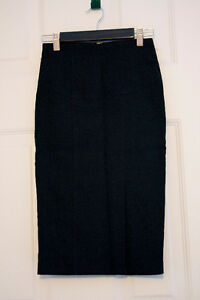 Stretchy Black Fitted Pencil Skirt with Silver Back Zipper