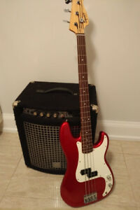 Squier bass guitar and Yorkville XM100 combo amp