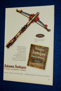 1958 ADAMS WHISKEY AD WITH ANTIQUE CROSSBOW / RETRO 50S VINTAGE