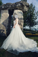 [Wedding Dress] David's Bridal Tube Top Ball Gown with Sache
