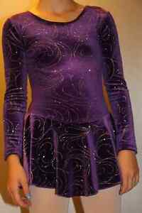 Figure Skating Dress-Purple with Silver Sparkle Swirls-Youth Lg