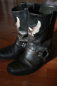 Vintage Harley Davidson Motorcycle Boots with Eagle 8.5