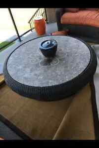 Wicker Marble Top Coffee Table and Side Table