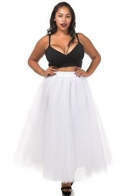 PLUS SIZE Sexy TuTu Tulle A-Line Pleated Ankle Long Tea Skirt White 1X 2X 3X  ()