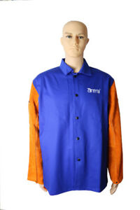 Fire resistant cotton welding jacket with leather sleeves
