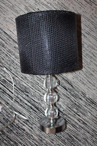 Almost new lamp with crystal base and shimmery shade