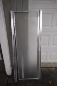 Shower Door - Pre-Fab, Alum, Frosted, Adjustable: 24-25(w) x 64