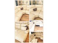 DFS cream leather corner chaise