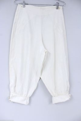Antique Knickers 1920 Depression Deco Knee Pants  Womens  Ivory Linen 28 Waist  - 1920s Womens Pants