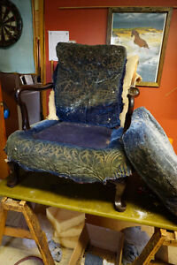 antique circa early 1900's man's wingback wooden arm chair &...