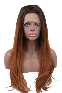Tsnomore Black-Brown Ombre Synthetic Lace Front Women Wigs