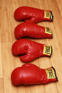 2 Pairs of 12 oz. RED BOXING GLOVES