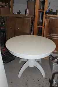 solid white table with insert