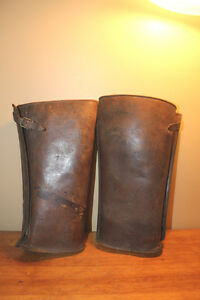 Old Leather Motorcycle Spats