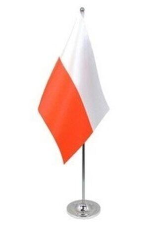"""POLAND DELUXE SATIN TABLE FLAG 9""""X6"""" CHROME POLE & BASE Stands 15"""" POLISH"""