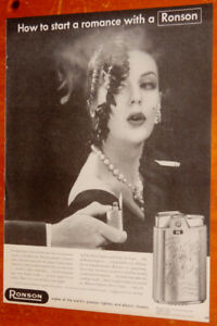 1955 RONSON LIGHTER WITH ELEGANT LADY VINTAGE AD - ANONCE 50S