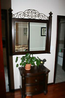 An amazing mirror and matching stand.