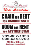 Hairdresser chair for rent/ Aesthetician room for rent