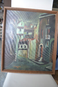 VINTAGE ORIGINAL Cityscape Oil Painting on Canvas 25 x 21 INCHES