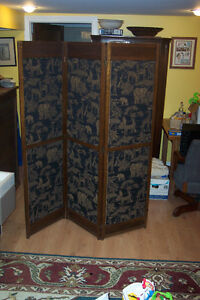 Antique Arts and Crafts room divider: three-piece screen London Ontario image 1