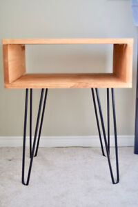 Minimalist hairpin bedside table, Modern hairpin leg side table,