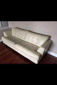 soft leather Ivory colored 3 seater