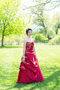 Red prom dress ballgown