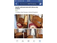 Double pine bed with pine drws only £75ono
