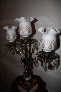 Vintage Brass, Marble and Crystal Lamp Belleville Belleville Area image 3