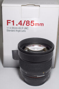 Samyang 85mm f/1.4 for Nikon with AE chip + 72mm UV filter