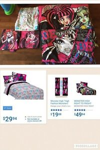 Monster High Twin Bedding set and Curtains