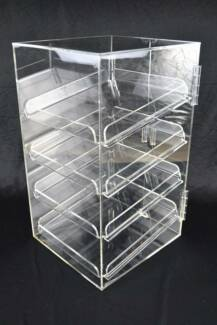 4 Tray 5mm Acrylic Bakery Muffin Donut Pastry Display Cabinet